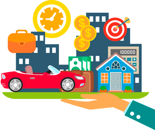 Lifestyle in credit, leasing and mortgage colors concept vector illustrationのイラスト素材 [FYI03090338]