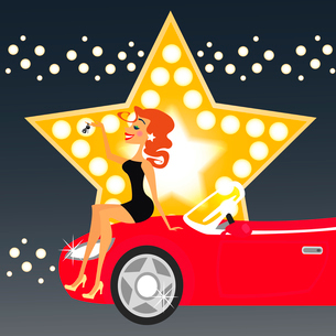 Girl and a new car vector illustrationのイラスト素材 [FYI03090345]