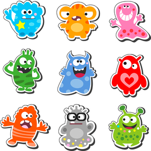 Cartoon funny & cute monsters icons set, isolated vector illustrationのイラスト素材 [FYI03090346]