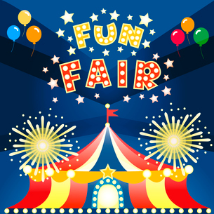 Fun fair at night poster template vector illustrationのイラスト素材 [FYI03090347]