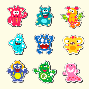 Set of the cartoon monsters symbols isolated vector illustrationのイラスト素材 [FYI03090351]