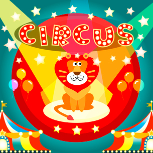 Lion on the circus arena poster vector illustration templateのイラスト素材 [FYI03090354]