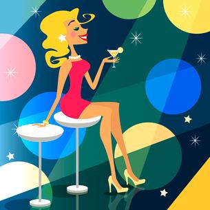 Blonde girl in the bar vector illustration sceneのイラスト素材 [FYI03090356]