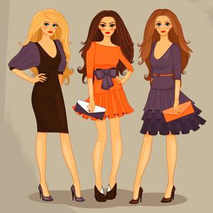 Sexy sweet fashion girls set vector illustrationのイラスト素材 [FYI03090364]