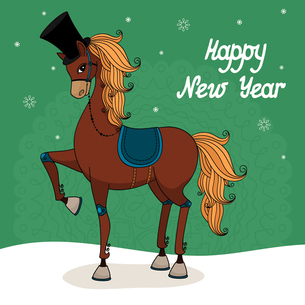Fashion stallion wearing a hat, 2014 year of the horse vector illustrationのイラスト素材 [FYI03090367]