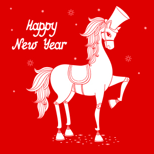 White stallion silhouette, 2014 year of the horse vector illustrationのイラスト素材 [FYI03090370]
