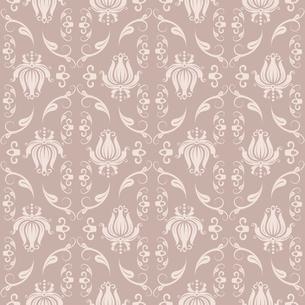 Seamless floral beige damask pattern vector illustrationのイラスト素材 [FYI03090373]