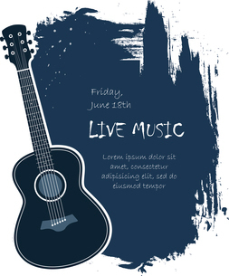 Acoustic guitar live music banner template vector illustrationのイラスト素材 [FYI03090374]