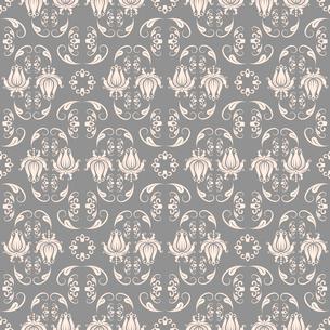Seamless beige on grey baroque pattern vector illustrationのイラスト素材 [FYI03090381]