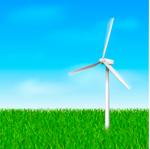 Windmill with grass and sky eco concept vector illustration templateのイラスト素材 [FYI03090383]