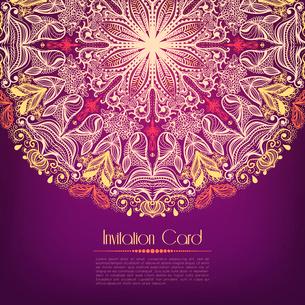 Ornamental violet invitation card template vector illustrationのイラスト素材 [FYI03090412]