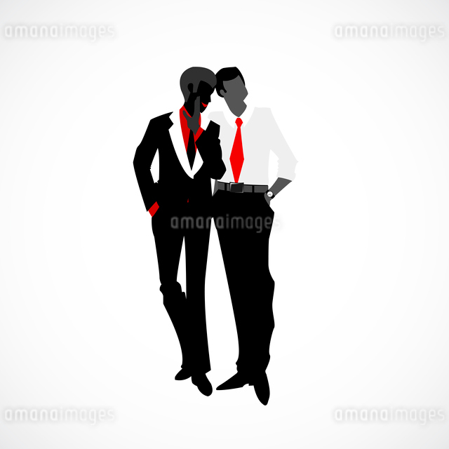 Private discreet conversation in business style vector illustrationのイラスト素材 [FYI03090415]