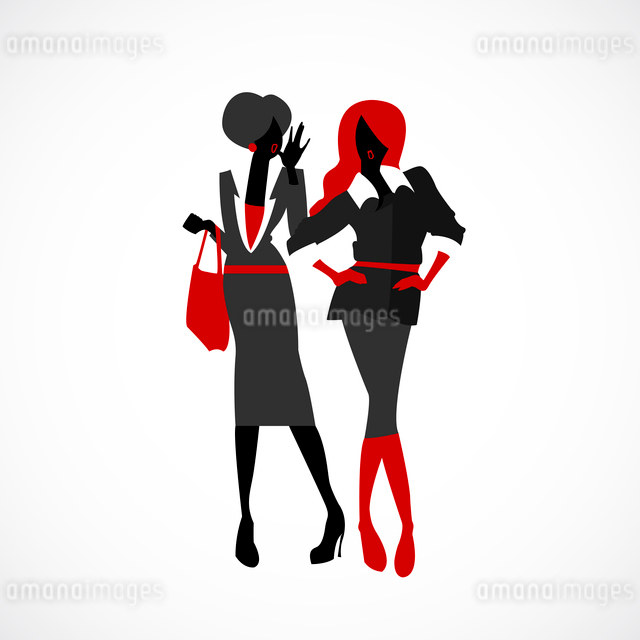 Office gossip of two fashion girls vector illustrationのイラスト素材 [FYI03090417]