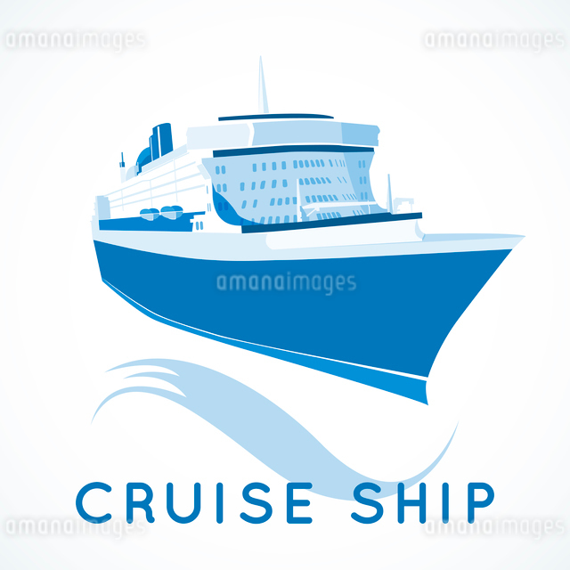 Blue ocean cruise ship label vector illustrationのイラスト素材 [FYI03090420]