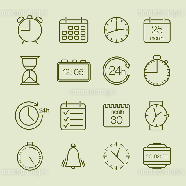 Simple time and calendar icons set vector illustrationのイラスト素材 [FYI03090430]
