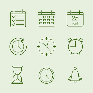 Contoured time and calendar icons set vector illustrationのイラスト素材 [FYI03090433]