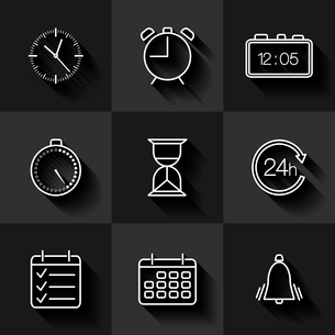Set of contour date, time and calendar icons with shadows vector illustrationのイラスト素材 [FYI03090435]
