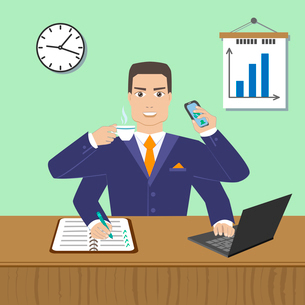 Effective busy multitasking employee concept vector illustrationのイラスト素材 [FYI03090439]