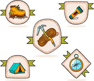 Mountain hiking set of badges vector illustrationのイラスト素材 [FYI03090441]