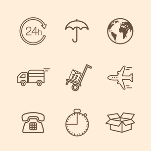 Set of contoured delivery icons vector illustrationのイラスト素材 [FYI03090442]