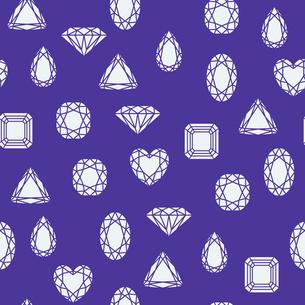 Seamless diamond and jewels on darkblue pattern vector illustrationのイラスト素材 [FYI03090444]
