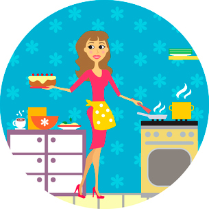 Kitchen or cuisine and women vector illustrationのイラスト素材 [FYI03090450]