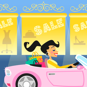 Shopping girl in luxury car goes for sale vector illustrationのイラスト素材 [FYI03090454]