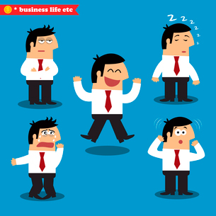 Manager emotions in poses, standing set vector illustrationのイラスト素材 [FYI03090455]