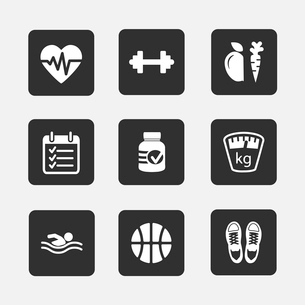 Set of flat fitness icons vector illustration isolatedのイラスト素材 [FYI03090460]
