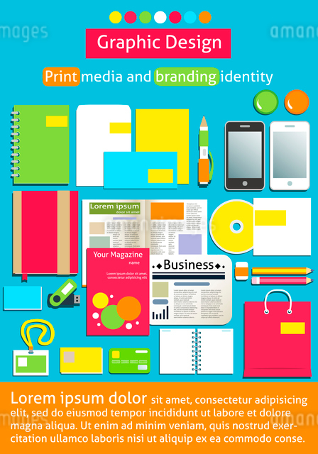 Graphic design, print media and branding identity poster template vector illustrationのイラスト素材 [FYI03090463]