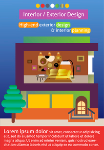 Interior and exterior design poster template vector illustrationのイラスト素材 [FYI03090465]