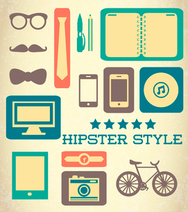 Flat hipster set of web elements vector illustrationのイラスト素材 [FYI03090472]