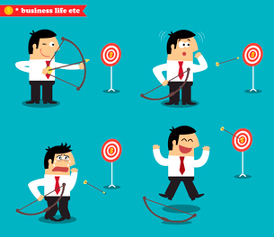Business man goal statuses icons set vector illustrationのイラスト素材 [FYI03090476]
