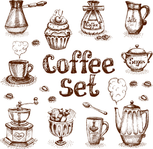 Retro coffee set of beans cream milk sugar vector illustrationのイラスト素材 [FYI03090478]