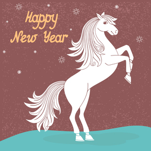 White prancing year of horse vector illustrationのイラスト素材 [FYI03090479]