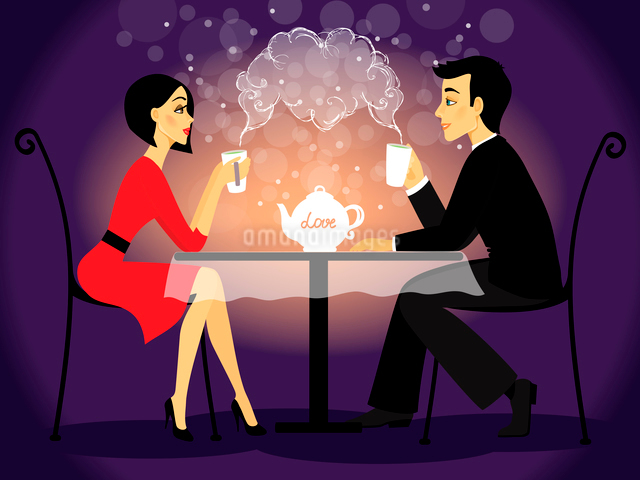 Dating couple scene, love confession vector illustrationのイラスト素材 [FYI03090481]