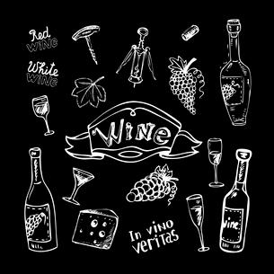 Wine set on chalkboard vintage vector illustrationのイラスト素材 [FYI03090482]