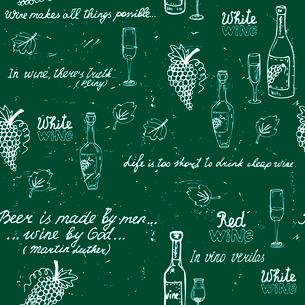Seamless wine pattern on chalk board vector illustrationのイラスト素材 [FYI03090484]