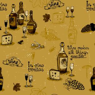 Wine still life monochrome pattern vector illustrationのイラスト素材 [FYI03090487]