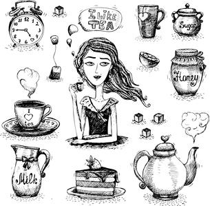 Tea set scene with the girl vector illustrationのイラスト素材 [FYI03090488]