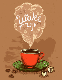 Good morning, wake up coffee cup vector illustrationのイラスト素材 [FYI03090500]