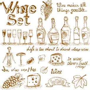 Set of wine elements for design vector illustrationのイラスト素材 [FYI03090502]