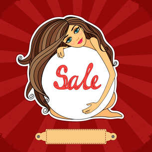 Sale poster with a girl, circle banner vector illustrationのイラスト素材 [FYI03090504]