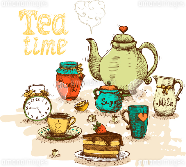 Tea time still life set vector illustrationのイラスト素材 [FYI03090505]