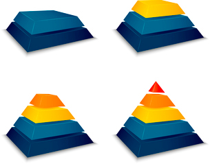 Pyramid building progress concept icons set vector illustrationのイラスト素材 [FYI03090518]