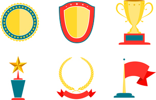 Award badges collection, achievement and success vector illustrationのイラスト素材 [FYI03090526]