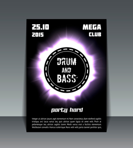 Eclipse drum and bass party flyer print, poster or bannerのイラスト素材 [FYI03090544]