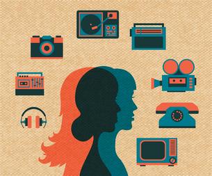 Girl friends silhouettes choosing entertainment vector illustrationのイラスト素材 [FYI03090548]