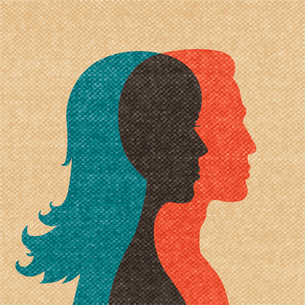 Woman and man friendship silhouettes concept vector illustrationのイラスト素材 [FYI03090554]