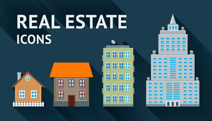 Real estate buildings icons set vector illustrationのイラスト素材 [FYI03090558]
